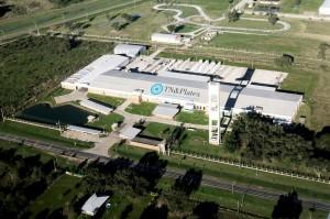Vista aérea de la planta de TN & Platex en Puerto Tirol